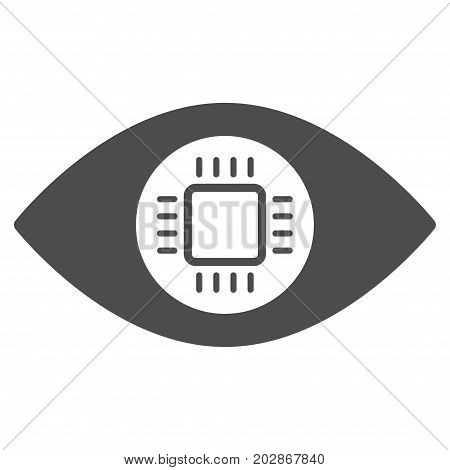 Eye Lens Processor vector pictogram. Style is flat graphic gray symbol.
