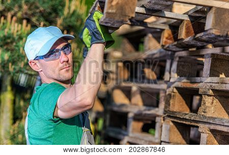 Using Wooden Pallets. Caucasian Worker in His 30s Looking For Used Wooden Pallet in Good Condition To Reuse.