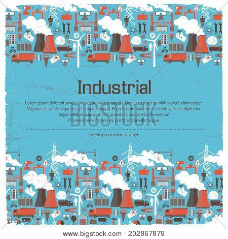 Industrial equipment and warning signs work tools and trucks on blue worn background vector illustration