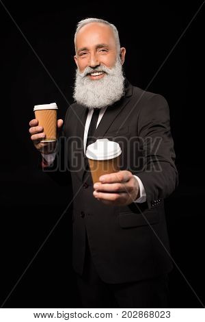 Businessman Holding Coffee Cups