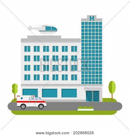 City Hospital and Clinic building with ambulance flat style and the car and the helicopter of medical care.Concept for infographics and design.Ambulatory care.Medical help.Healthcare facility.