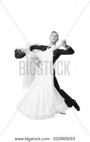 Ballrom Dance Couple In A Dance Pose Isolated On White Bachground