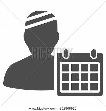 Patient Appointment Calendar vector pictogram. Style is flat graphic grey symbol.