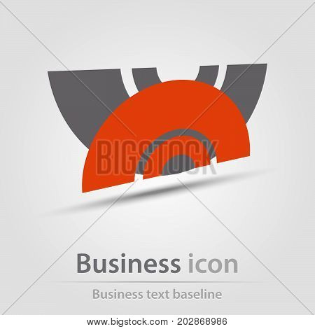 Originally created business icon with reflected abstract shapes