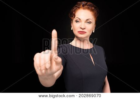 Woman Holding Silence Sign