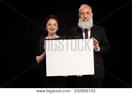 Woman And Man Holding Blank Card