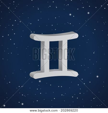Gemini zodiac symbol 3D white zodiac icon on the background of dark blue starry sky