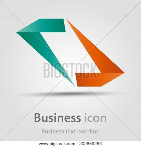 Originally created business icon with opposite origami beams