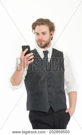 Man In Formal Outfit With Mobile Phone.