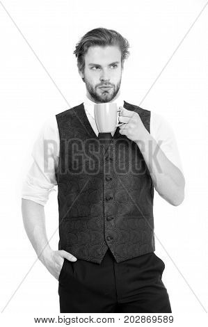 Bearded Man, Serious Gentleman Drink Tea Or Coffee From Cup