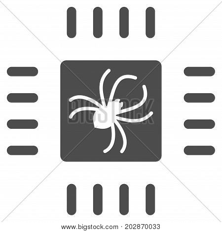 Processor Bug vector icon. Style is flat graphic gray symbol.