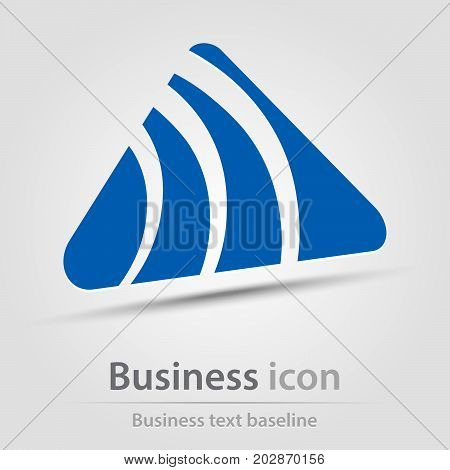 Originally created business icon with curve hatched triangle