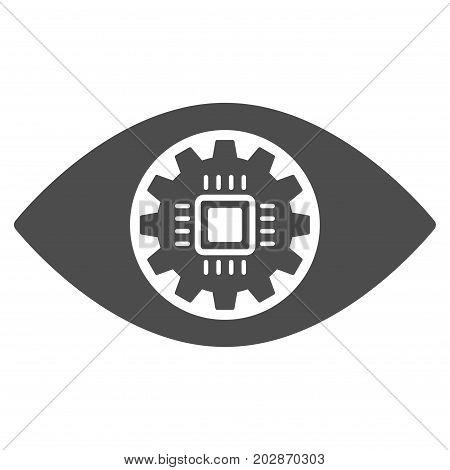 Robotics Eye Lens vector icon. Style is flat graphic gray symbol.