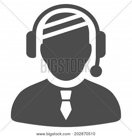 Sick Dispatcher vector icon. Style is flat graphic grey symbol.