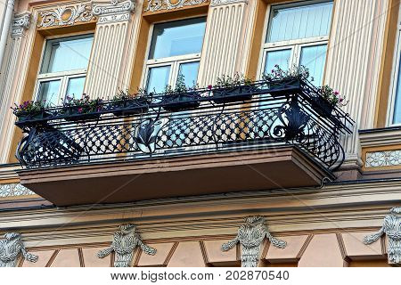 Black balcony with flower pots on the wall of the building with windows