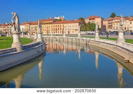 Prato della Valle is a 90,000 square meter elliptical square in Padova, Italy poster