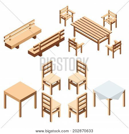 Garden and house furniture. A bench park and chairs with a table from wooden boards for the estate and a country house.  A table with a cloth for kitchen and the dining room. Isometric style vector.