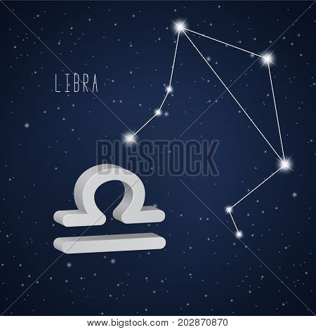 Vector illustration of Libra 3D symbol and constellation on the background of starry sky