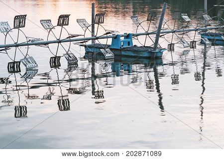 Shrimp Farm With Paddle Wheel Aerator