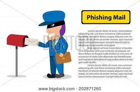 Hacker send a phishing mail to victim Vector design