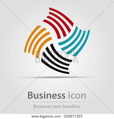 Originally created business icon with mill from colorful bars
