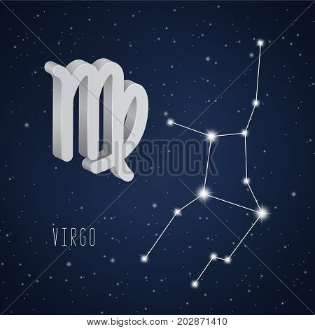 Vector illustration of Virgo 3D symbol and constellation on the background of starry sky