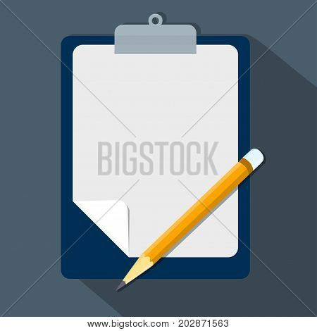 Clipboard and pencil Vector modern flat illustration empty sheet of paper and pencil Clipboard with blank paper and pencil-Vector Eps10 Illustration