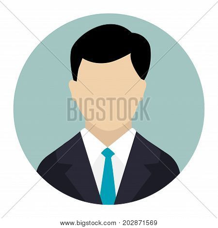 User Icon Male avatar in business suit Businessman flat icon. Man in business suit. Avatar of businessman. Flat internet icon in rounded shape. Web and mobile design element. Male profile. Vector illustration