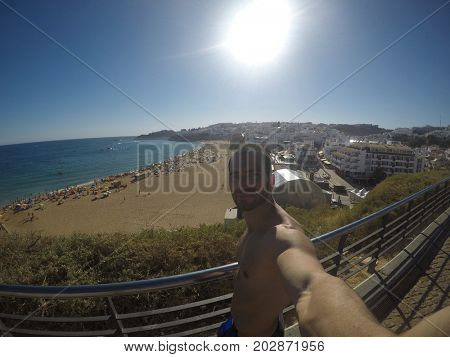 Guy Taking a Selfie in French Riviera, France