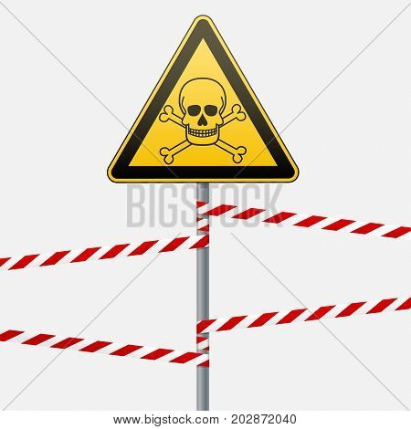 Caution - danger Warning sign safety. Poisonous and hazardous substances. Mortal danger - poison. yellow triangle with black image. sign on the pole and protecting ribbons. Vector Image.