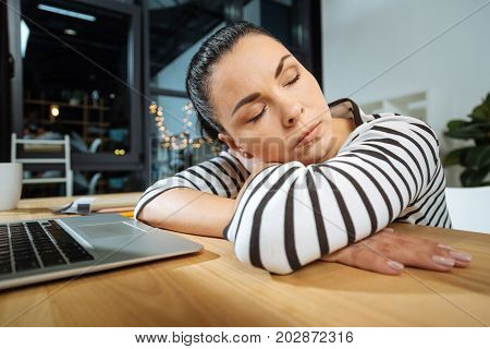 Feeling exhausted. Pleasant attractive hard working woman sitting at the desk and having a nap while being too exhausted from work
