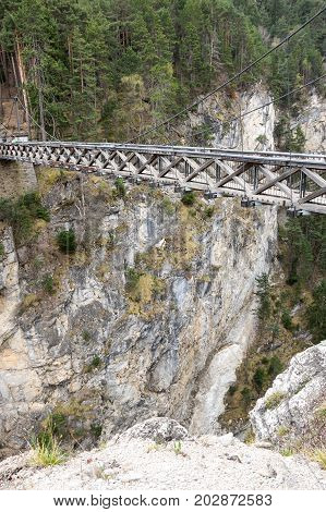 Devil's bridge in Vanoise National Park a French national park between the Tarentaise and Maurienne valleys in the French Alps