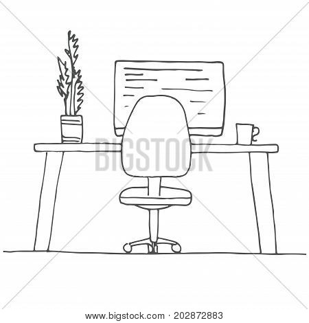 Sketch the room. Office chair desk various objects on the table. Sketch workspace. Vector illustration