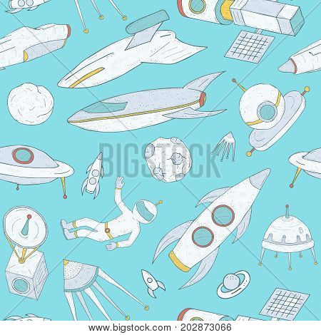 Seamless pattern with cartoon space objects hand drawn on blue background - spacecraft, astronaut, flying saucer, satellite, planets, asteroids and meteorites. Vector illustration