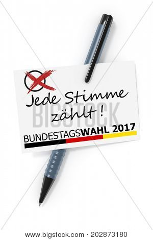 3d rendering of a business card and a ball pen and the text federal Elections 2017 each vote counts in German language