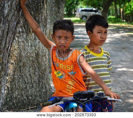 Children On Rural Road In Mekong Delta, Vietnam