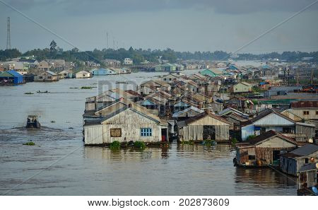 Floating Houses On River In An Giang, Vietnam