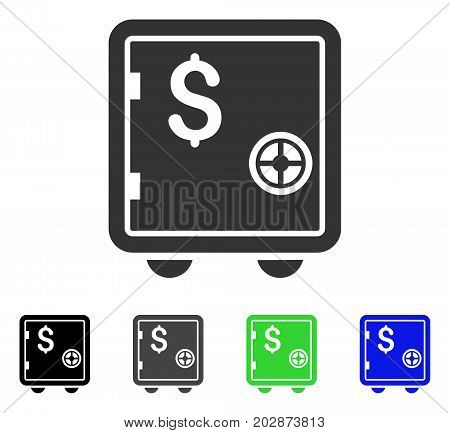 Banking Safe icon. Vector illustration style is a flat iconic banking safe symbol with black, grey, green, blue color versions. Designed for web and software interfaces.