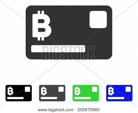 Bitcoin Credit Card icon. Vector illustration style is a flat iconic bitcoin credit card symbol with black, gray, green, blue color variants. Designed for web and software interfaces.