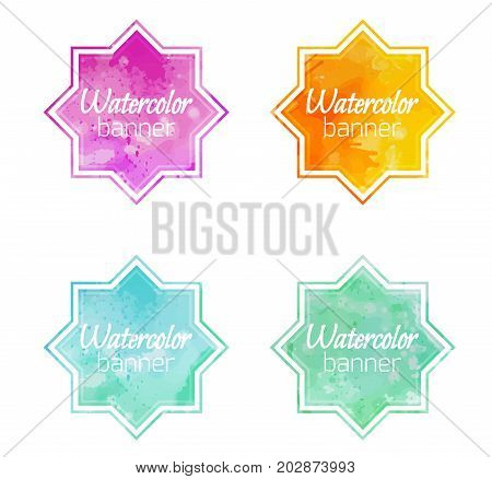 Set of banners with star shape with a watercolor background. Vector element for labels stocks marketing and your design