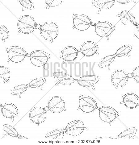Stylish seamless pattern with hand drawn fashionable sunglasses of different shapes and models on white background. Monochrome vector illustration for textile print, wallpaper, wrapping paper