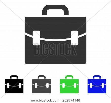 Case icon. Vector illustration style is a flat iconic case symbol with black, grey, green, blue color variants. Designed for web and software interfaces.