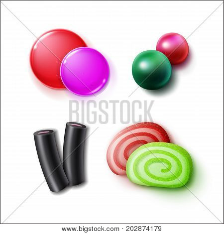 Vector set of different pink, green, red, black sweets, candies, bonbons and marmalades close up top view isolated on white background