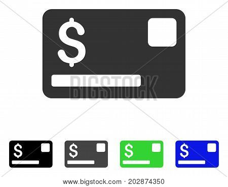 Credit Card icon. Vector illustration style is a flat iconic credit card symbol with black, grey, green, blue color versions. Designed for web and software interfaces.
