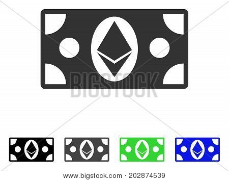 Ethereum Cash Banknote icon. Vector illustration style is a flat iconic ethereum cash banknote symbol with black, grey, green, blue color variants. Designed for web and software interfaces.