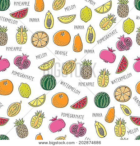 Seamless pattern with hand drawn exotic fruit on white background. Perfect organic food pattern in flat style can use for wrapping paper bio products wallpaper organic backgdrop