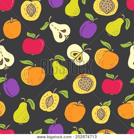Seamless pattern with hand drawn fruit on black background. Perfect organic food pattern in flat style can use for wrapping paper bio products wallpaper organic backdrop