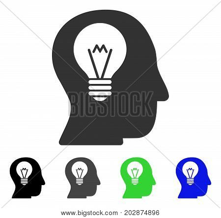 Intellect Bulb icon. Vector illustration style is a flat iconic intellect bulb symbol with black, grey, green, blue color variants. Designed for web and software interfaces.