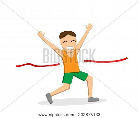 Happy male runner cross the finish line vector design
