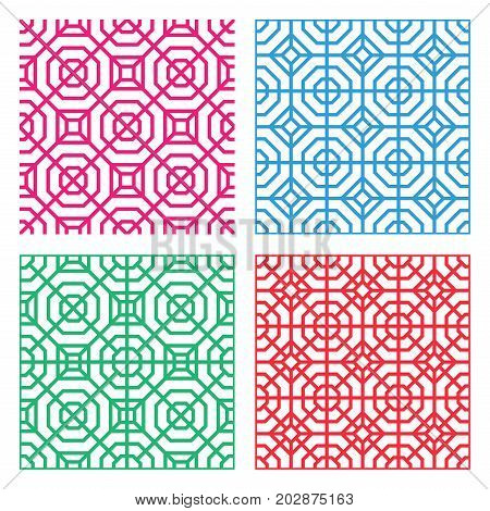 Seamless Geometric tracery pattern in Indian style vector
